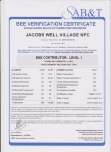 Jacobs Well BBBEE Certificate